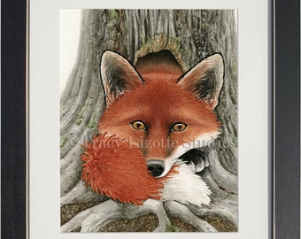 Fox Hole - archival watercolor print by Tracy Lizotte