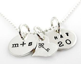 Key to My Heart Necklace with You plus Me Charm and Date - hand stamped sterling silver necklace - personalized