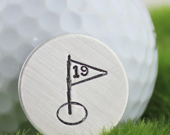 19th Hole hand stamped sterling silver golf ball marker