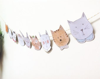 Cat Face Illustrated Paper Garland