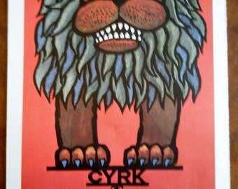 Vintage Circus Poster - Polish Circus LION Vintage Poster Size Book Plate