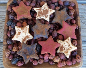Rustic Country Primitive Spiced Americana Stars, Grubbied, Farmhouse Decor, Bowl Filler, July 4th, Red White Blue