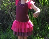 Girls' dance leotard dress, tiered ruffles in hot pink and maroon, embellished with with sequins, used