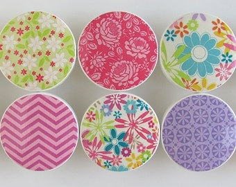 Summer Fun Floral Knobs- Bright Green, Blue, Pink, Purple Turquoise Flower and Chevron Drawer Knobs- Wood Knobs 1 1/2 Inches