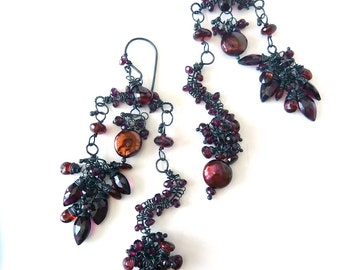 Red Garnet Earrings - Oxidized Sterling Silver - One of a Kind -  Fine Jewelry -Tagt Team - Free Shipping