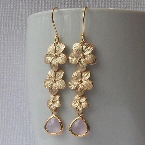 Pink Gold Flower Dangle Earrings