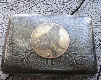 Luna Moth Etched Wallet / Cigarette Case in Victorian Filigree -- Acid Bath Series