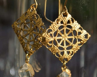 Gold and Crystal Earrings, Metal Lace Earrings, Elegant Bridal Earrings, Dangle Earrings, Holiday Earrings, Earrings That Sparkle, Gift