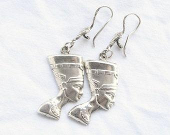 Sterling Egyptian Earrings Pierced Vintage Sterling Silver Pharoah Profile Headdress Figural Dangle Drop
