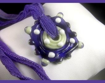 BirdDesigns Lampwork Necklace on Adjustable Silk Ribbon- ooak - J552