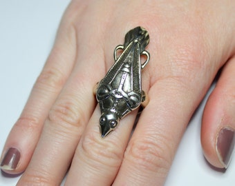 Ancient Silver Odin's Raven Viking Talon Ring  217