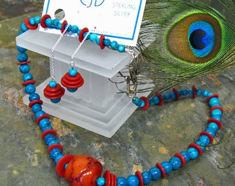 Turquoise Fossil Stone and Red Coral Necklace and Earrings Set - SS27