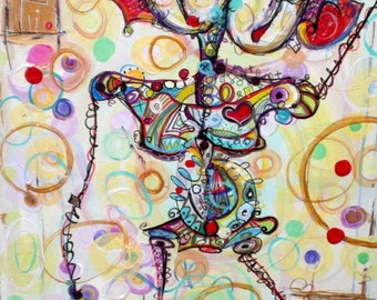 Sassy Sista - 24 x 48 Modern Abstract Painting by Kim Dean