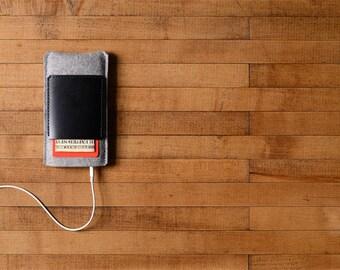 iPhone Case - Grey Felt and Black Leather Pocket