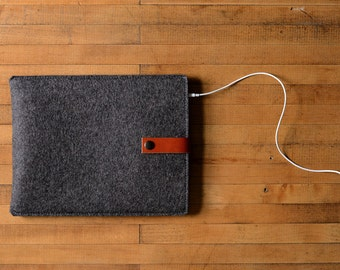 iPad Air Sleeve - Charcoal Wool Felt with Brown Leather
