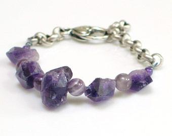 Amethyst Crystal and Bead Bracelet, Stones and Chain Cuff, Purple Bracelet, WillOaks Studio Original Bracelet, Stacked Stones Series