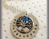 Personalized Family Tree Necklace German Silver with Swarovski Crystal