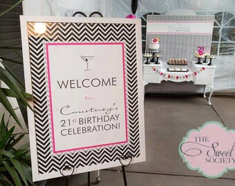 Black and White CHEVRON 21st Birthday Party Printable Welcome Sign - you print