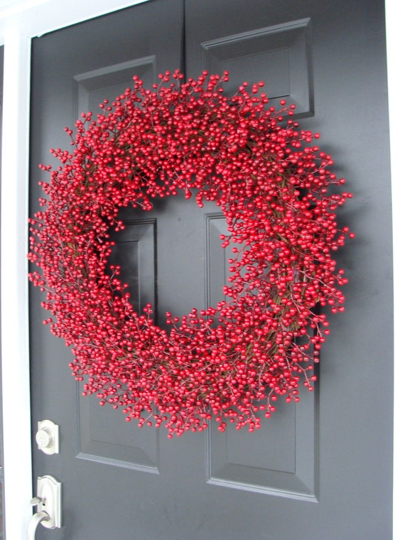 Wedding Wreath, Berry Wreath, Red Christmas Wreath, Christmas Decoration, 28 inch All Weather,  As Seen in Better Homes and Garden