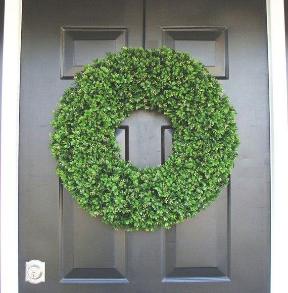 year round wreath front door decor outdoor boxwood wreath