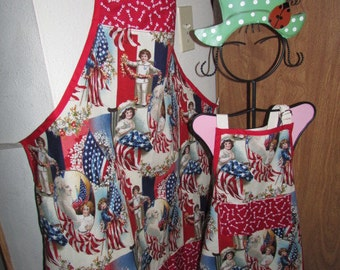 Patriotic Mother Child Apron Set - Independence Day, barbeque, hospitality, hostess, cook BBQ