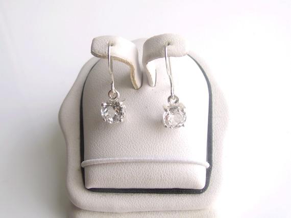 White Topaz Dangle Sterling Silver Earrings April Birthstone 6mm