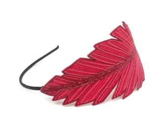 Feather Headband- Amaranth Pink with Carnation, Carmine Pink, and Crimson Red Embroidery