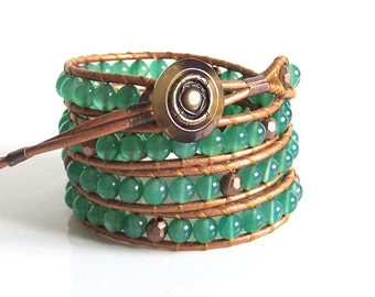 Emerald Green Onyx Gemstone Beaded Wrap Bracelet x4 Wraps, Handmade, Dyed Green Onyx,Leather Thong