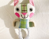 SALE Plush Rabbit Bunny Recycled Fabric Doll Patchwork Green Pink