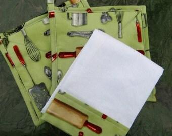 Retro Pot Holders Towel Set - Country Kitchen Pot Holders - Green Pot Holders