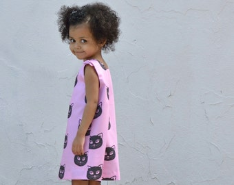 Pink Cat Organic Girls Dress - Eco Friendly Summer Pinafore - Kids Fashion (Ready to Ship in 2T, Made to Order 12 months 3T 4T)
