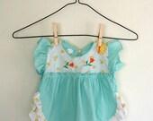 Vintage Aqua Baby Dress - Size 3-6 months 6-9 months