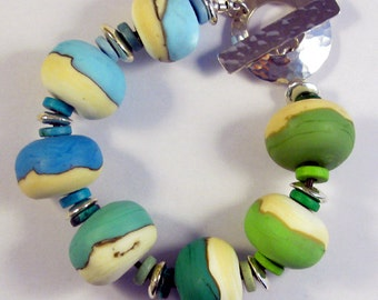 Sea Bubble Lampwork Glass Bead Bracelet SRA