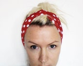 The Twist Turban Headband- In Red and White Polka Dot Print