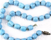 Vintage Glass Beads - Sky Blue Organic Shapes Textured Beads - Lot of 35