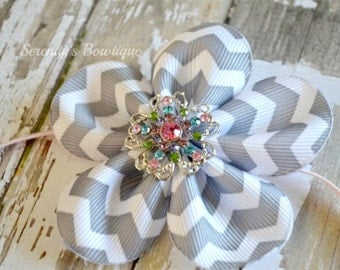 Gray Chevron Flower pink skinny Headband.. Girls Headband.. Baby Infant Headband
