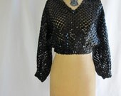 1970s 1980s Top Vintage Black Sequins Cropped Sweater