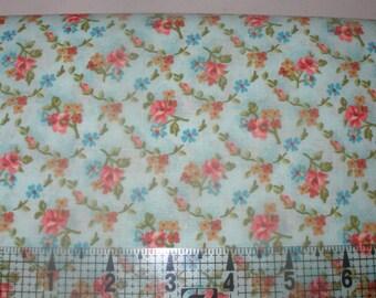 Half Yard Cut Martine Blue Floral Print Cotton Fabric by General Fabrics