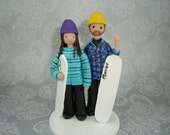 Bride & Groom Snowboard Theme Wedding Cake Topper