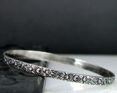 Flower Bangle Bracelet - Sterling Silver Ornate Flower Bangle