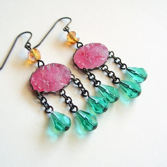 Pink Aqua Glass Chandelier Earrings Sparkling Vintage Beads Summer Statement Jewelry