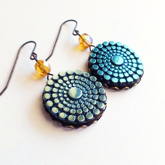 Iridescent Art Deco Earrings Vintage Glass Cabochons Large Geometric Peacock Blue Black Friday Cyber Monday 20% Off