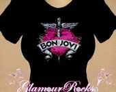 Bon Jovi Band Concert Pink Heart Rhinestone Crystal  T Tee Shirt Top Bling
