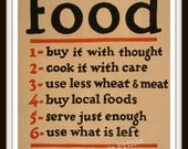 "WPA Poster ""Food - Don't Waste It"" - Giclee Art Print"