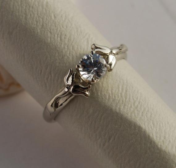 Flower Engagement ring Gem stone-  Lily 14K 4 prong setting 4 to 7 handmade engagement