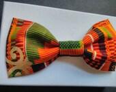 Orange Kente Fabric Hair Bow MADE TO ORDER