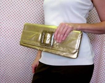 Gold Clutch Purse - Long & Slender