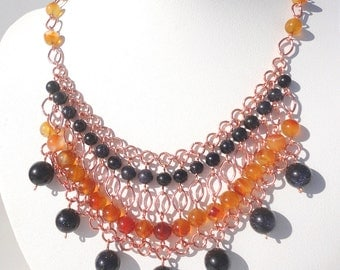 Carnelian and Blue Goldstone Bib Necklace - Round Carnelian and Blue Goldstone Beads on Copper Chain