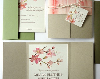 SAMPLE - Peachy Blossoms Watercolor Wedding Invitation Set (Recycled Taupe Gate Fold)