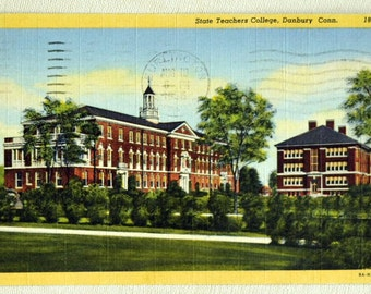 1956 Vintage Linen Postcard of the State Teachers College, Danbury, Conn.